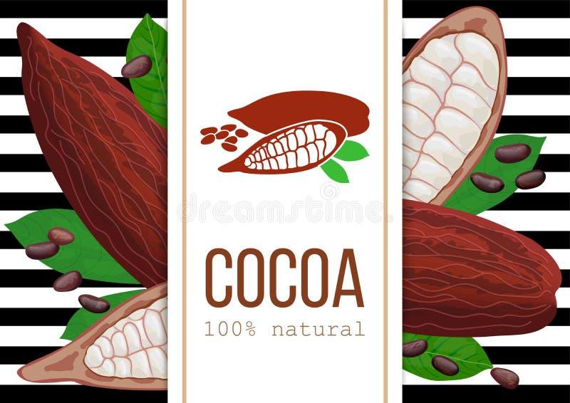 Fruta, habas y hojas maduras de la vaina del cacao sistema del vector del icono 3d rayas blancos y negros con el texto 100 natura ilustración del vector