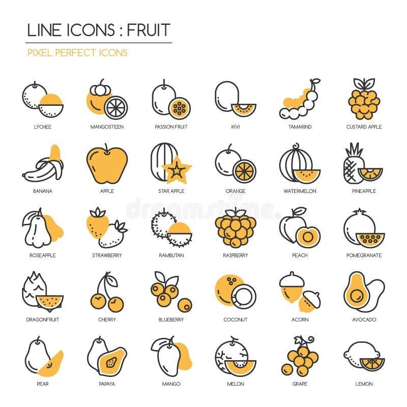 Fruta, icono perfecto del pixel libre illustration