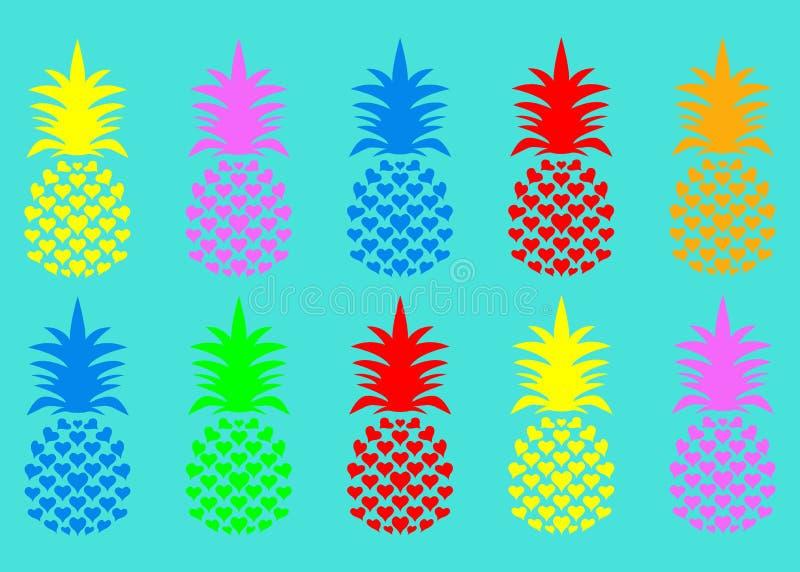 Fruta inconsútil de la piña del verano con colores vivos de la moda Modelo tropical lindo, fondo de la textura del vector libre illustration