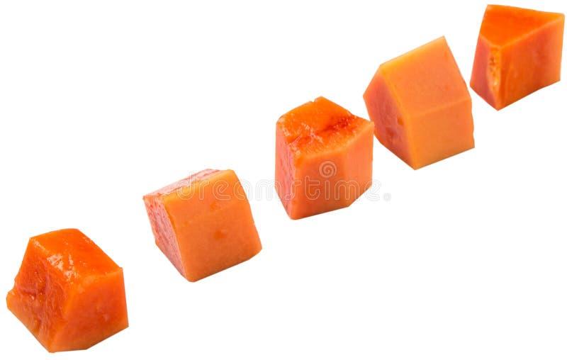 Fruta IV de la papaya de la forma del cubo fotografía de archivo libre de regalías