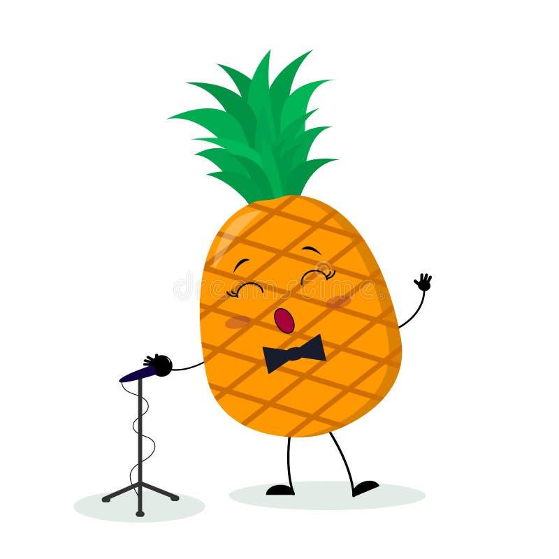 Fruta linda de Kawai que un cantante de la piña con una corbata de lazo canta en el micrófono Car?cter del estilo de la historiet stock de ilustración