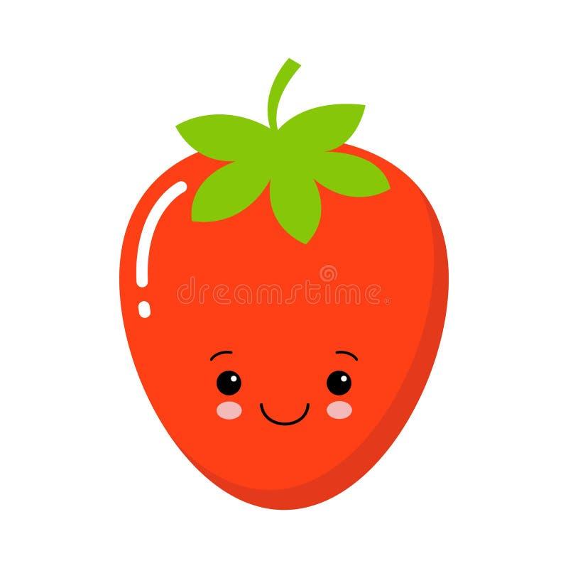 Fruta linda de la fresa de jardín o icono plano del vector del color de las fresas ilustración del vector