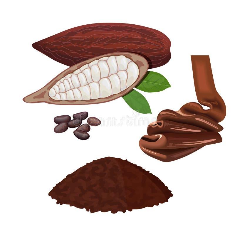 Fruta madura fresca del cacao Hojas y habas de la vaina del cacao Chocolate y polvo libre illustration