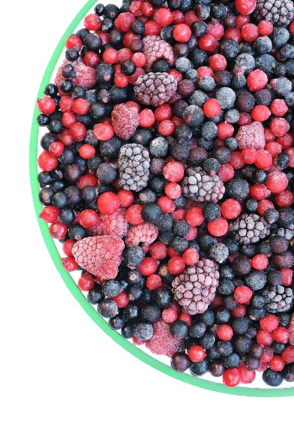 Fruta mezclada congelada en el tazón de fuente - bayas fotografía de archivo