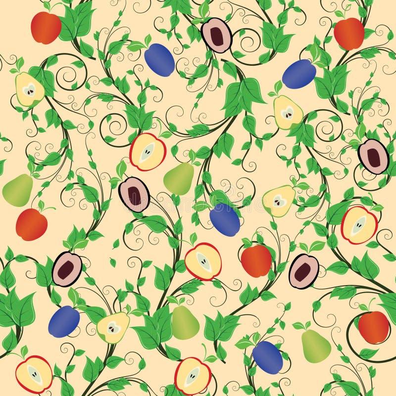 Fruta mezclada inconsútil ilustración del vector