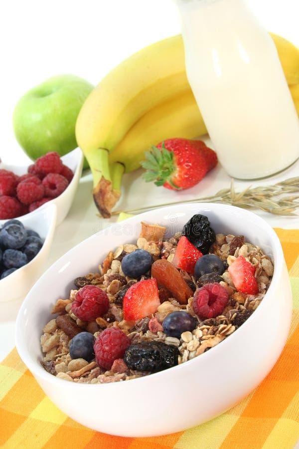 Fruta Muesli imagens de stock