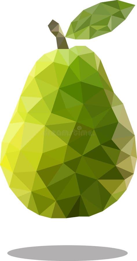 Fruta poligonal de la pera Estilo geométrico abstracto de la papiroflexia Imagen de trama ilustración del vector