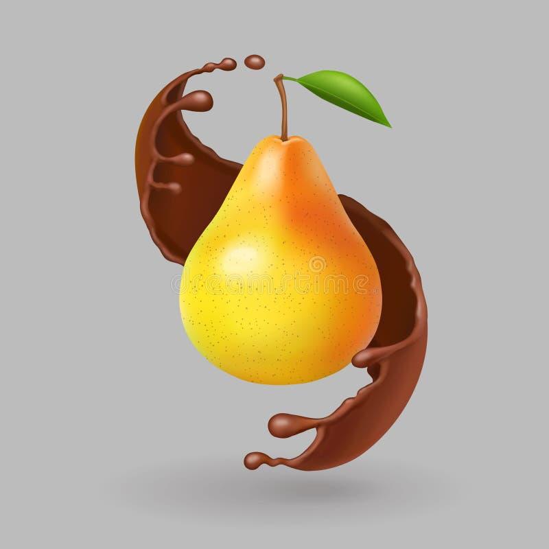 Fruta realista de la pera en chapoteo del chokolate Vector libre illustration