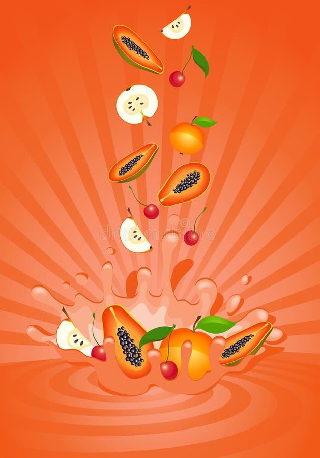 Fruta sabrosa en yogur libre illustration