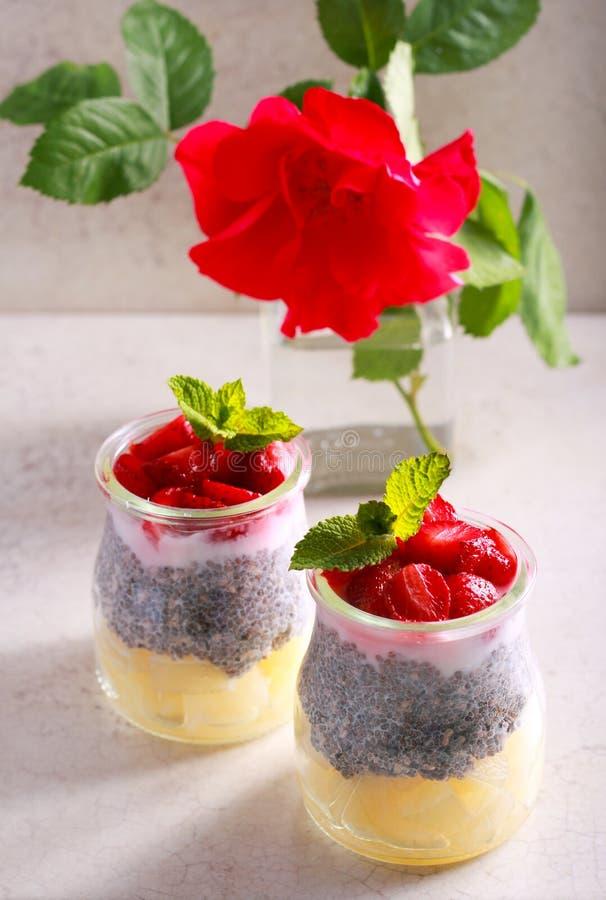 Fruta, semilla de la baya y del chia y bocado acodados del yogur fotografía de archivo