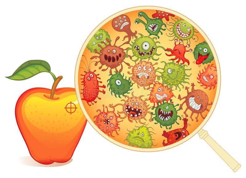 Fruta sucia, debajo del microscopio stock de ilustración