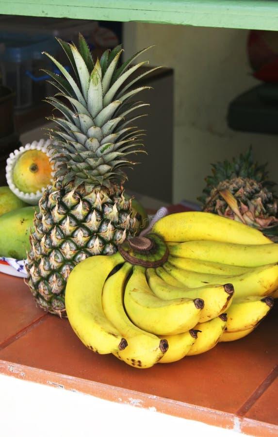 Fruta tropical - bananas, abacaxi e melões foto de stock royalty free