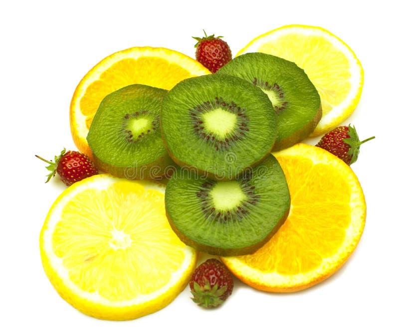 Fruta tropical e morango fotografia de stock