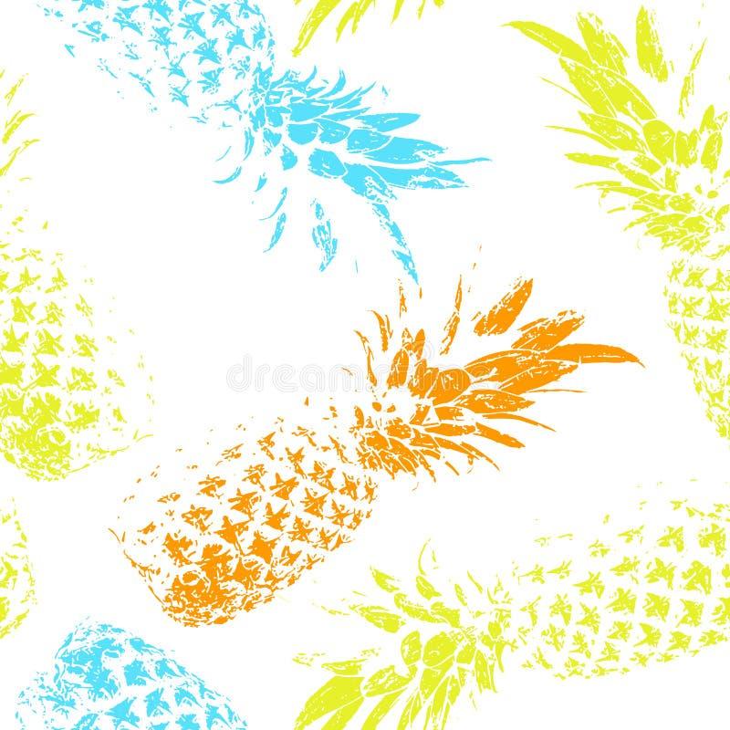 Fruta tropical en un fondo blanco Modelo inconsútil brillante con las piñas ilustración del vector