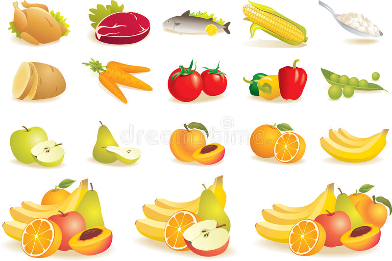 Fruta, vehículos, carne, iconos del maíz libre illustration