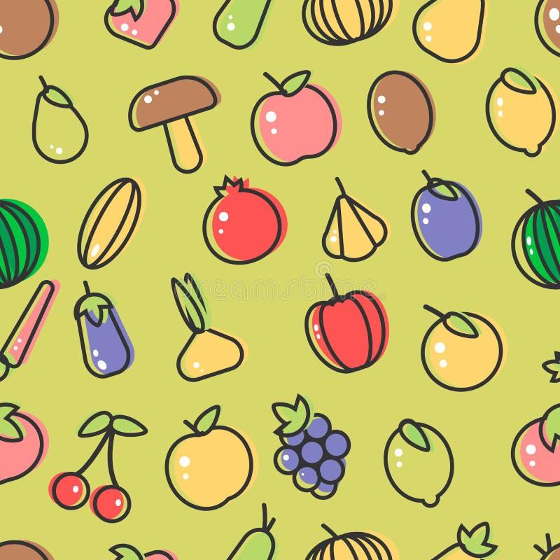 Fruta y comida inconsútil de la granja del modelo de las setas y de las verduras de la baya libre illustration