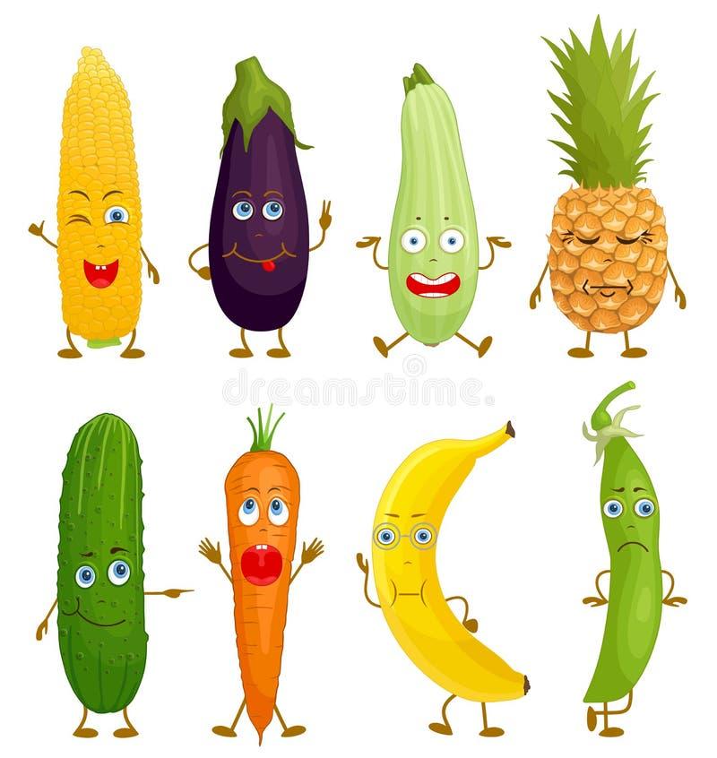 Fruta y verdura de la historieta del carácter Vector libre illustration