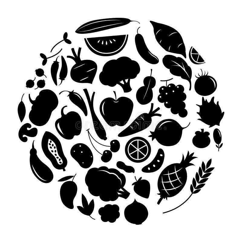 Fruta y verdura gráfica junto, vector ilustración del vector