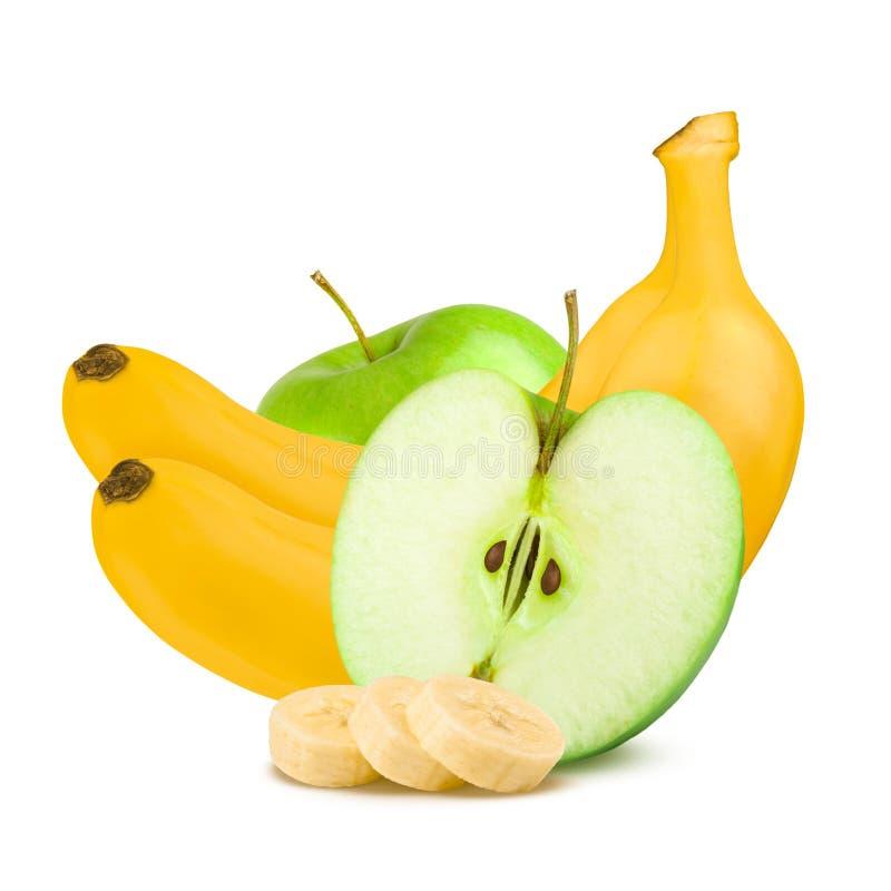 Frutas aisladas Manzanas y plátanos verdes en el fondo blanco imagen de archivo libre de regalías