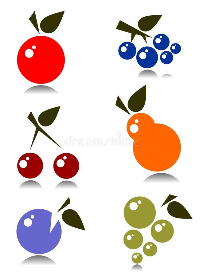 Frutas ajustadas ilustração do vetor