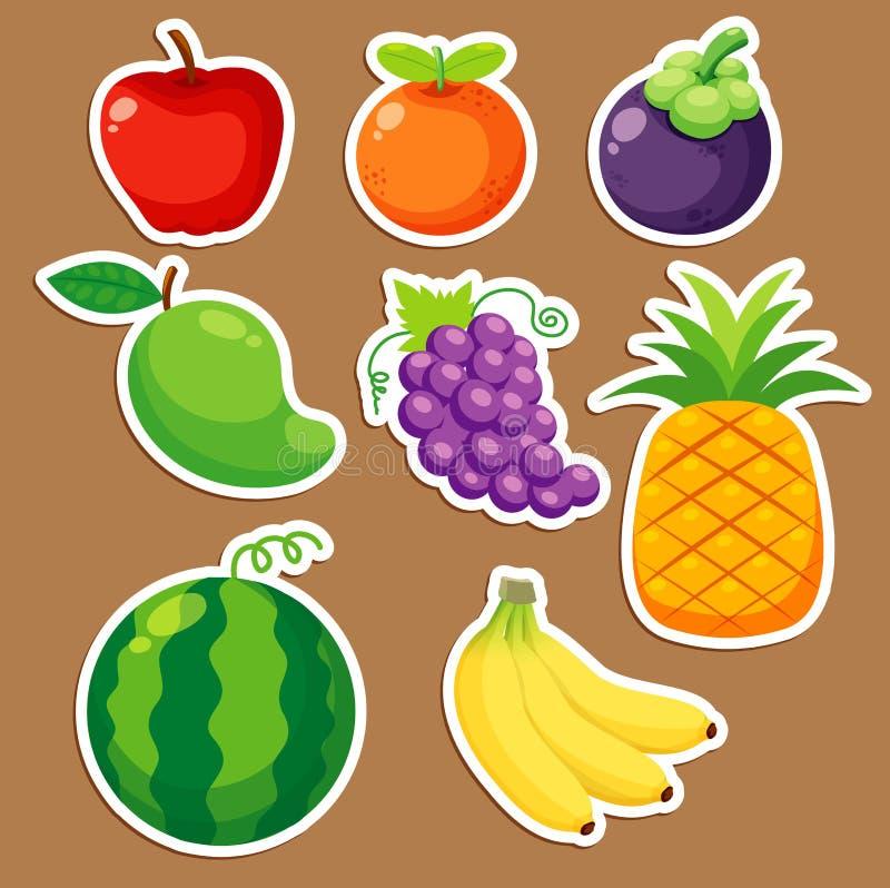 Frutas ajustadas ilustração stock