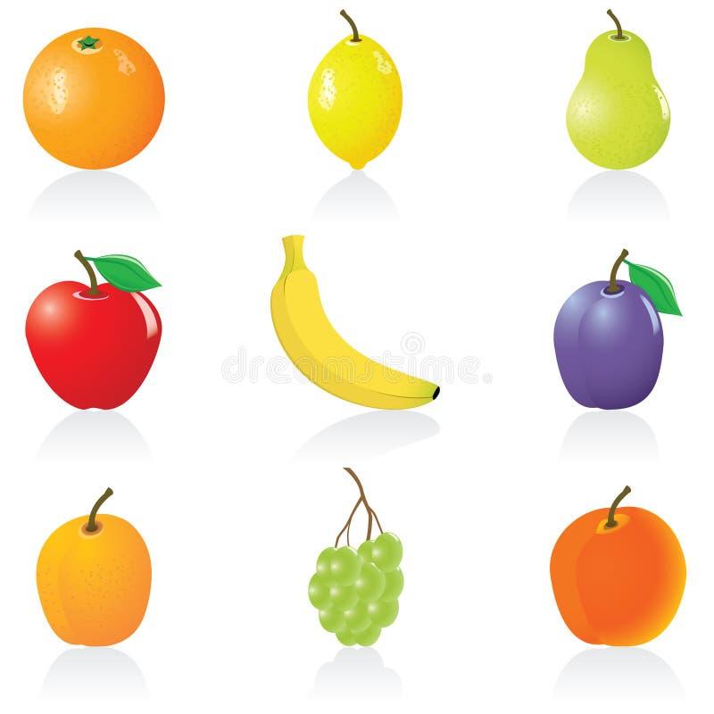 Frutas ajustadas do ícone ilustração do vetor