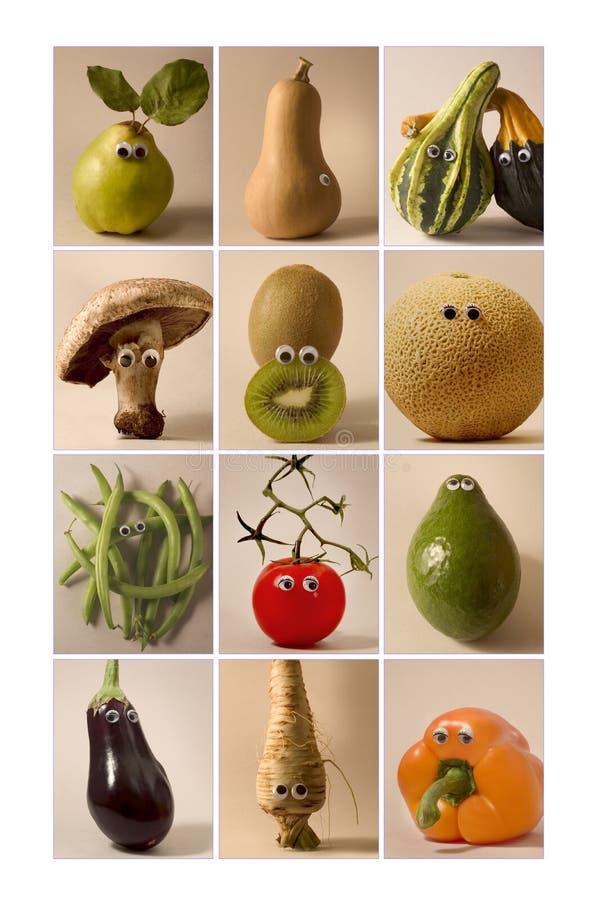 Frutas & vegetais com olhos do brinquedo fotografia de stock