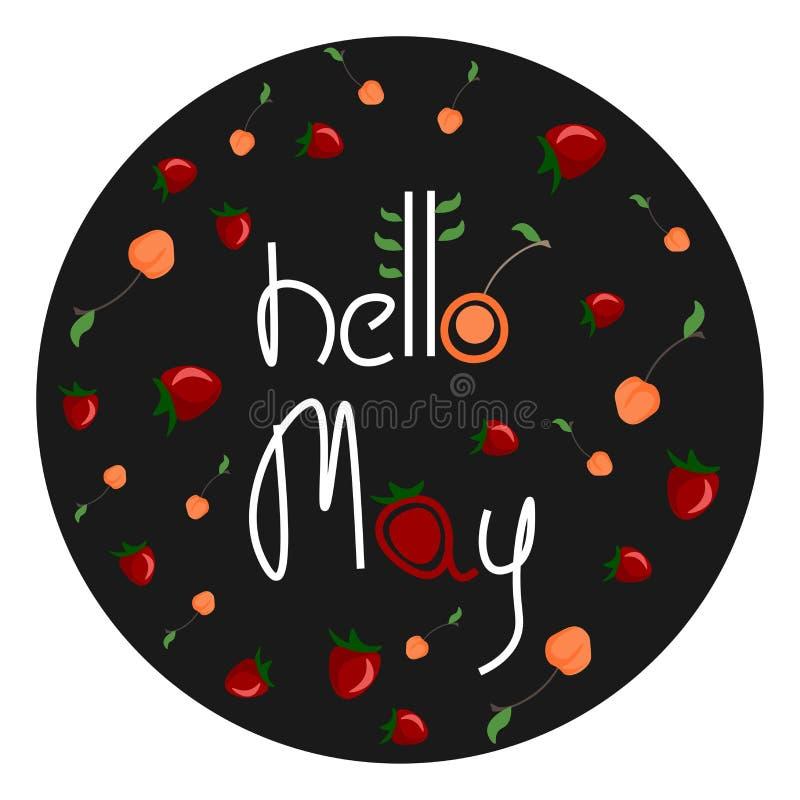 Frutas coloridas adornadas con la escritura HELLO MAY vectorial o ilustración de color stock de ilustración