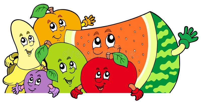 Frutas de espreitamento dos desenhos animados