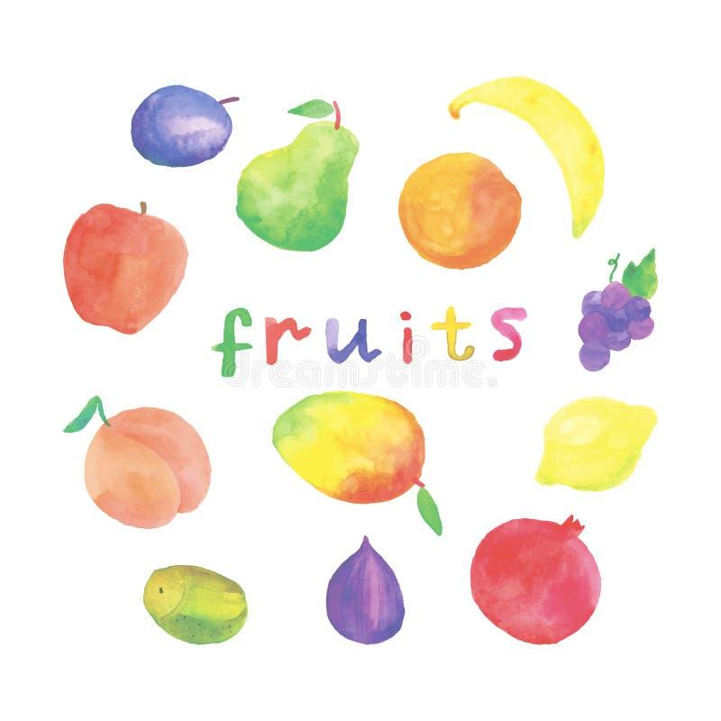 Frutas de la acuarela fijadas ilustración del vector