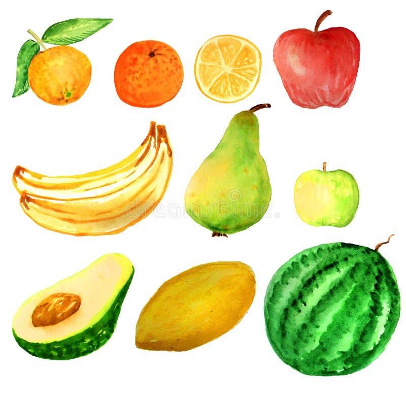 Frutas de la acuarela fijadas stock de ilustración