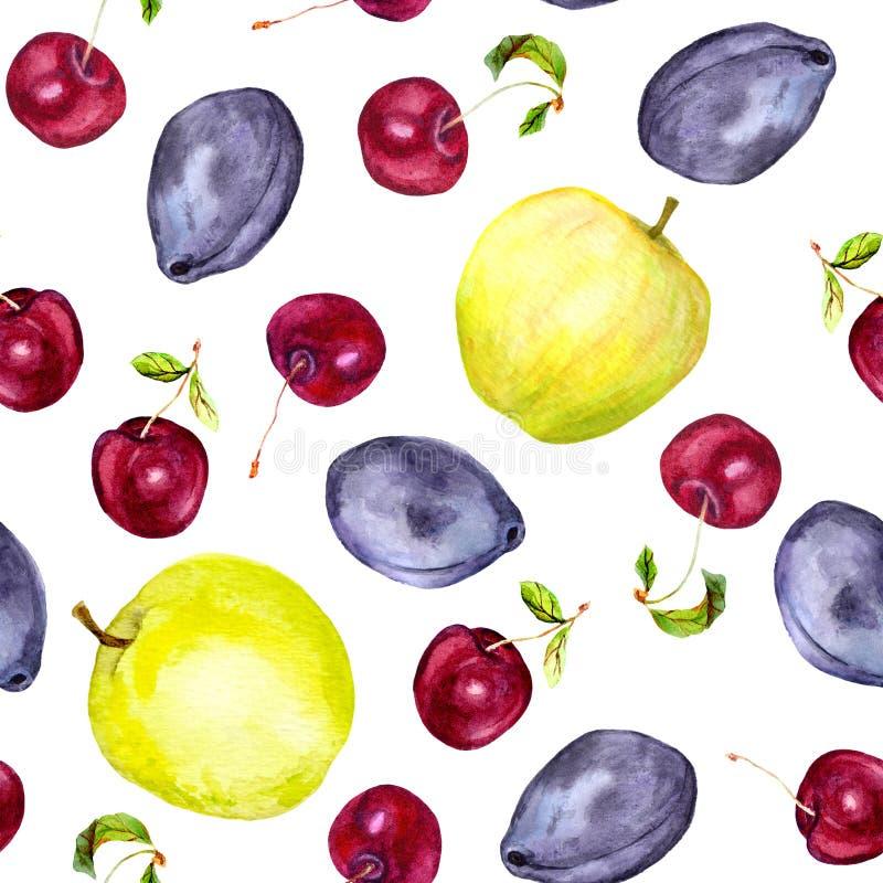 Frutas de la cereza, de la manzana y del ciruelo Modelo inconsútil watercolor stock de ilustración