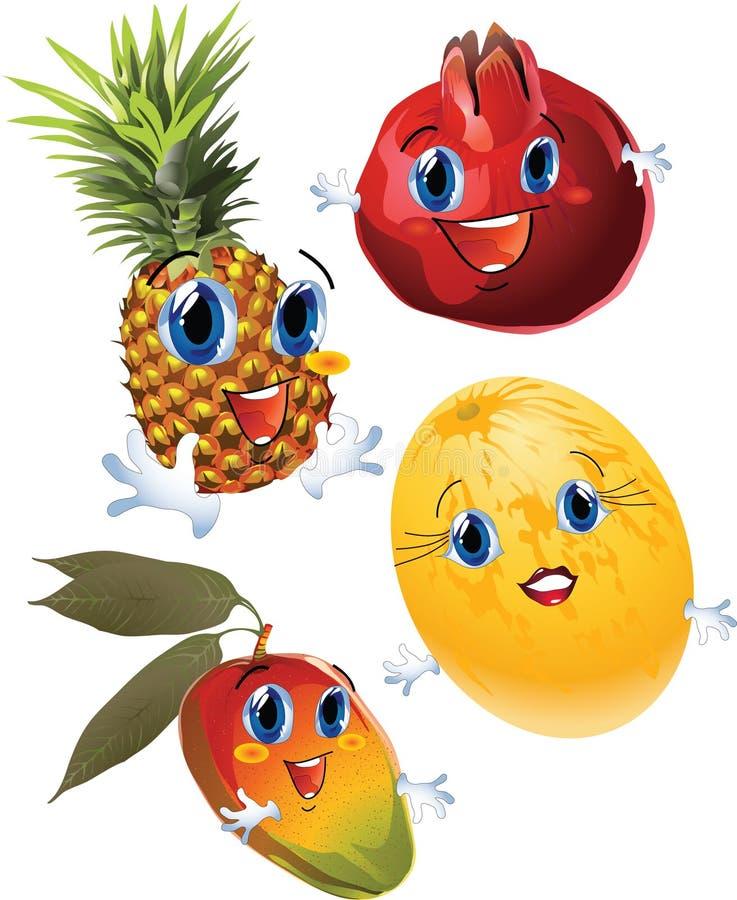 Frutas de la historieta stock de ilustración