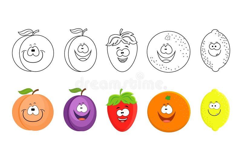 Frutas de la historieta fijadas Páginas del libro de colorear para los niños Melocotón, ciruelo, s ilustración del vector