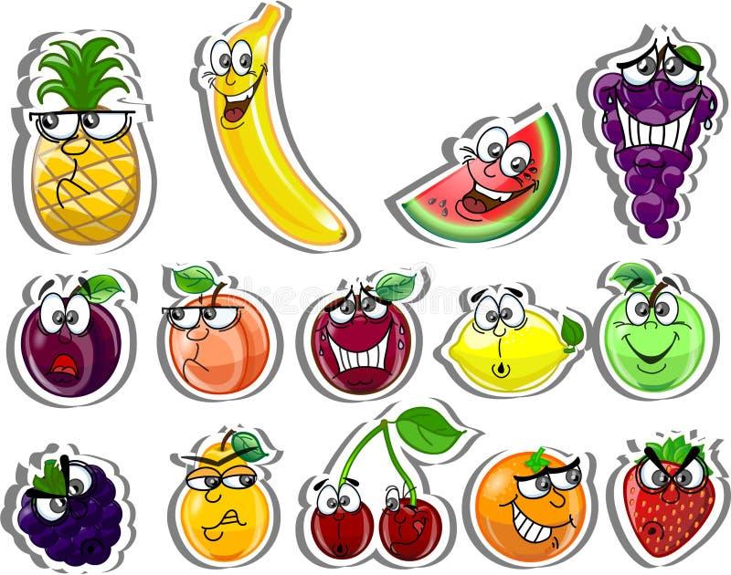 Frutas de la historieta, vector stock de ilustración