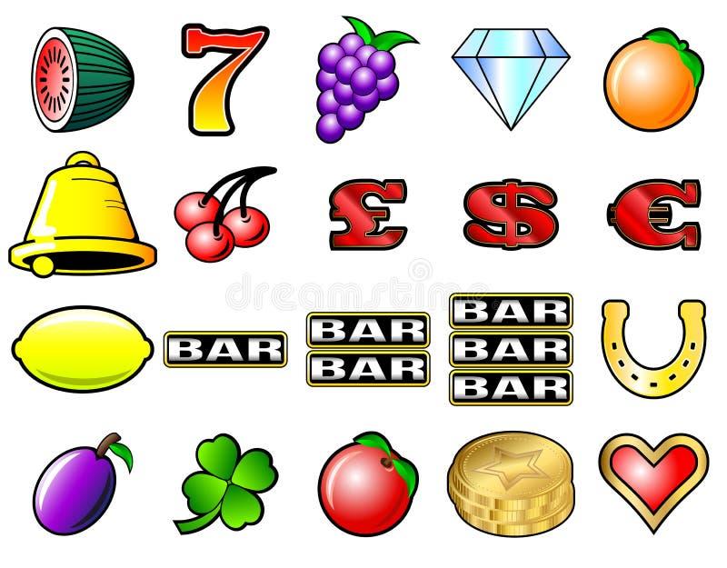 Símbolos de la máquina tragaperras stock de ilustración