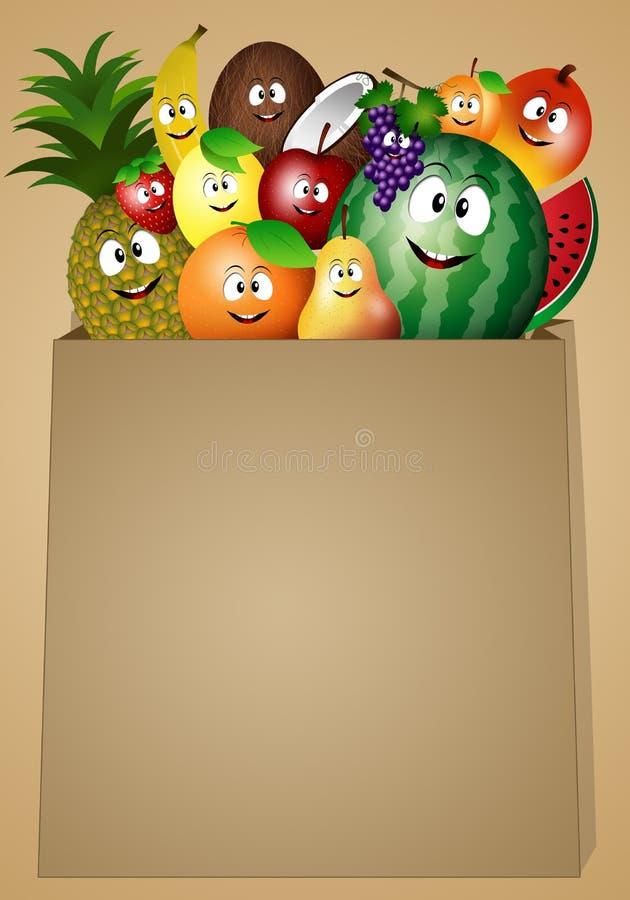 Frutas divertidas para la dieta del vegano ilustración del vector