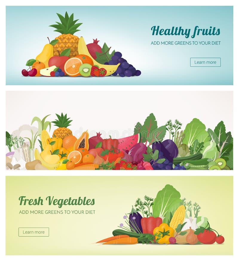 Frutas e legumes ilustração stock