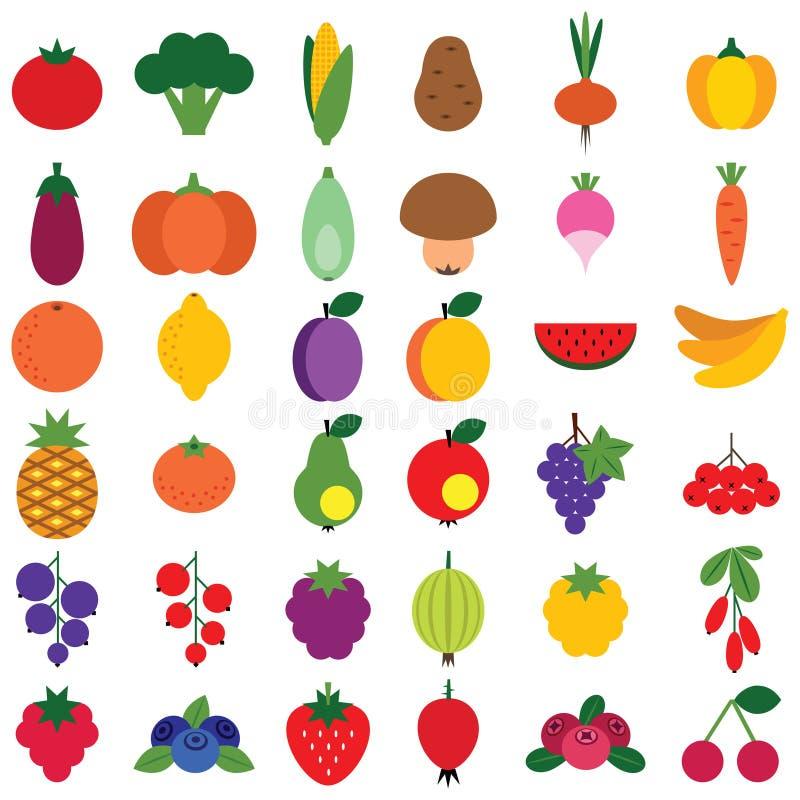 Frutas e legumes ajustadas fotografia de stock