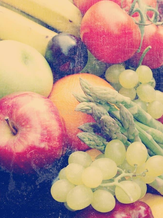 Frutas e legumes do vintage fotografia de stock