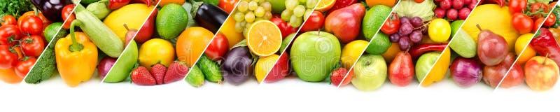 Frutas e legumes frescas da coleção isoladas no backgro branco imagem de stock royalty free