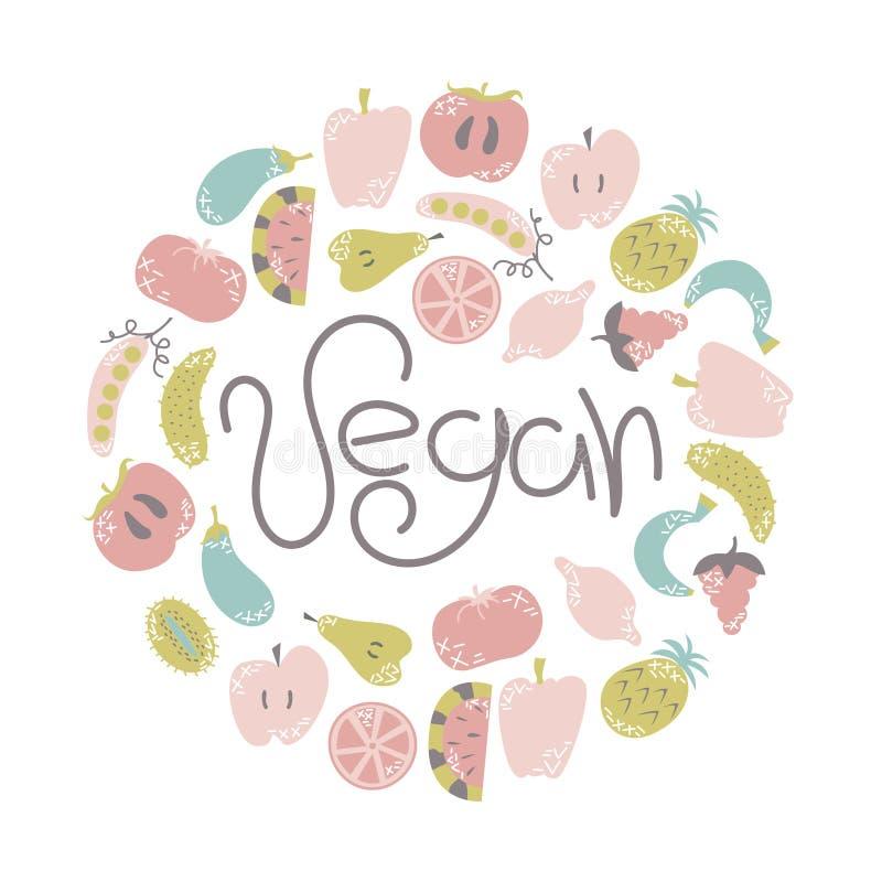 Frutas e legumes lisas no estilo dos desenhos animados com garatujas Vegetariano, vegetariano Ilustração do vetor ilustração royalty free