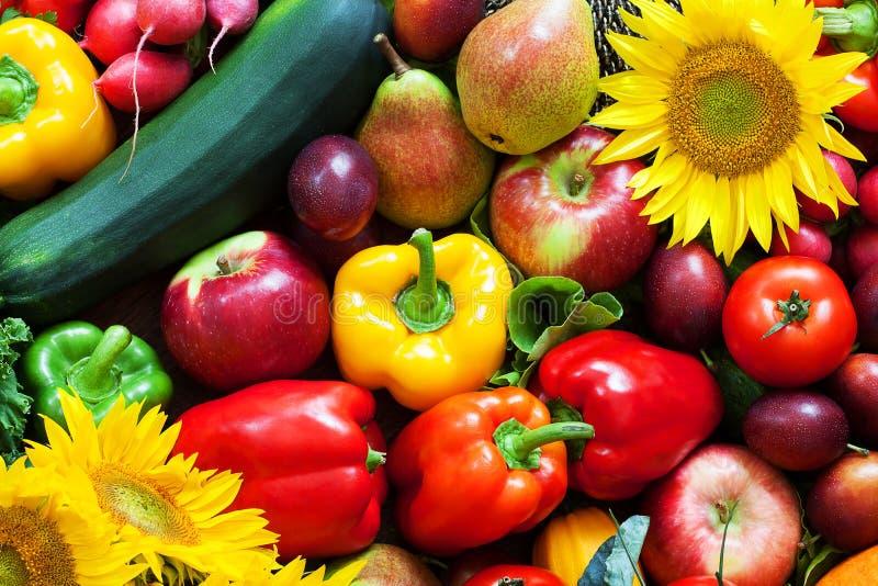 Frutas e legumes misturadas acima fotografia de stock