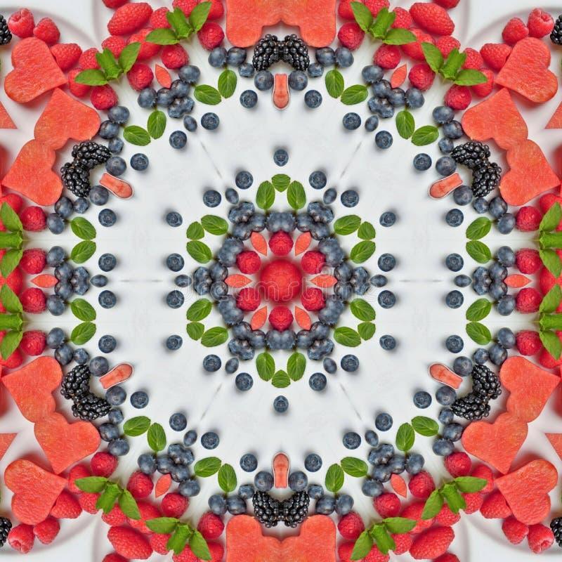 Frutas e legumes na mandala ilustração royalty free