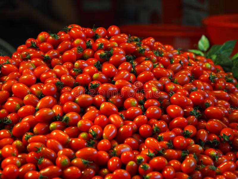 Frutas e legumes tradicionais do mercado, tomate de cereja imagem de stock