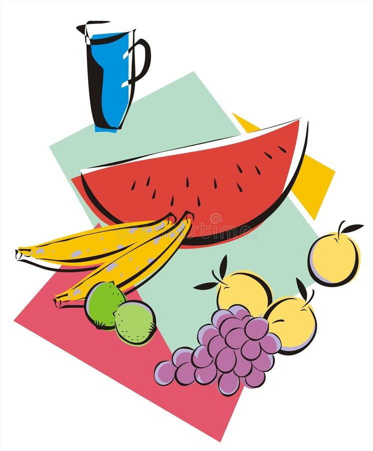 Frutas e suco ilustração stock