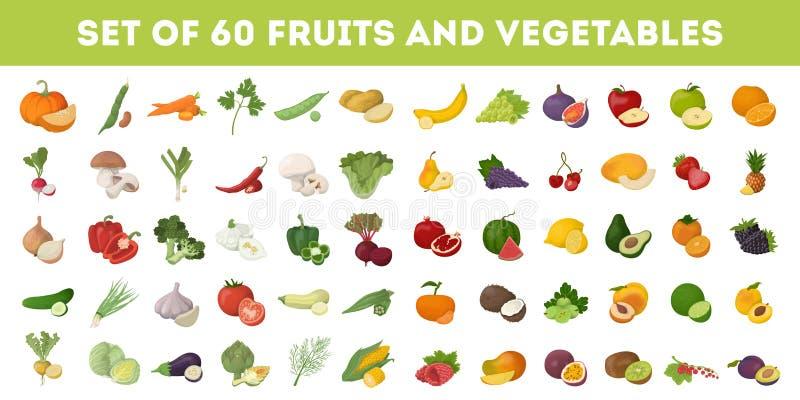 Frutas e verdura ilustração stock
