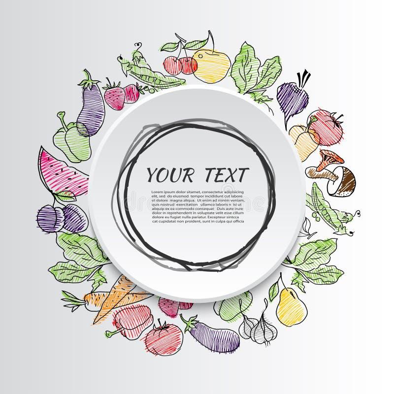 Frutas e verdura Alimento saudável ilustração stock