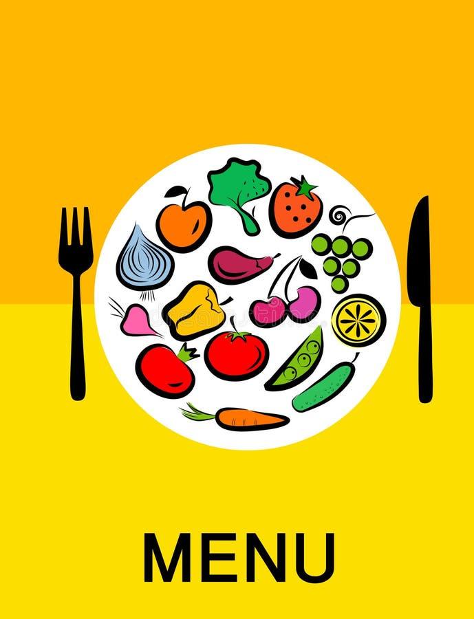 Frutas e verdura combinadas no frame redondo -1 ilustração royalty free