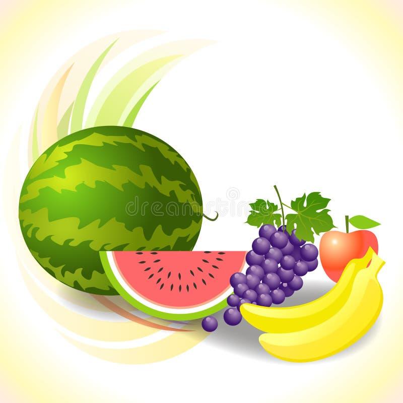Frutas e verdura frescas ilustração stock